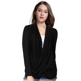 Fancyqube Womens Sexy Long Sleeve Casual Loose Shirt Tops Black (Intl)
