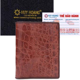 HL2229 - Bóp nam Huy Hoàng da cá sấu kiểu đứng màu nâu đỏ