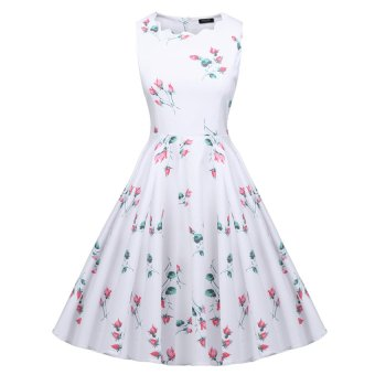 Cyber ACEVOG Women Vintage Style Print Sundress Swing Hem Scalloped Collar Party Casual Pleated Dress ( White ) - Intl
