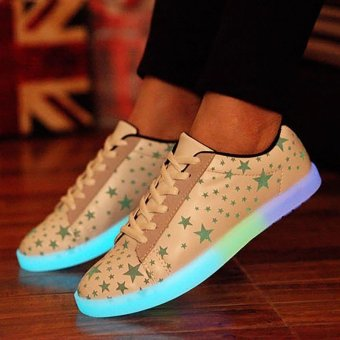 Lovers LED Night Light Up Sneakers Hip-Hop Dancer Lace Up Casual Shoes - Intl