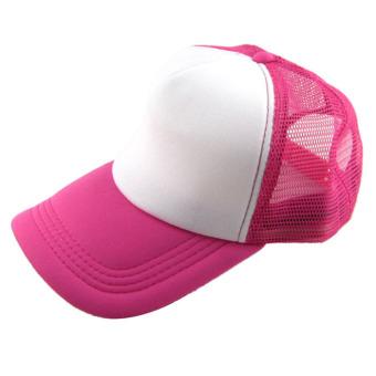 Casual Hat Solid Baseball Cap Trucker Mesh Blank Visor Hat Rose+White
