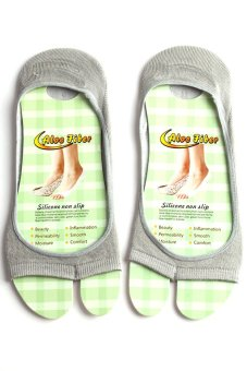 Lalang Non-slip Ankle Socks Open-toed Invisible Anti-skid (Grey) - intl
