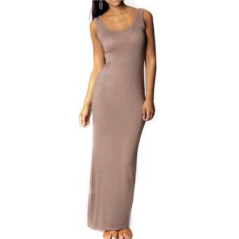 Cyber Stylish Ladies Women Party Tank Long Dress (Khaki) - Intl