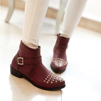 Giày boot nữ cổ cao nạm đinh sành điệu – XS0078 (Nâu).