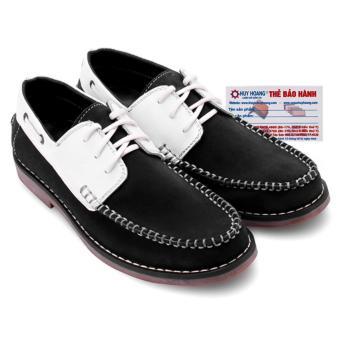 HL7166 - Giày nam Huy Hoàng màu trắng phối đen