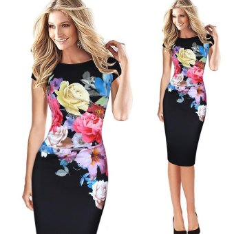 Kenancy Women Printing Dress Elegant Flower Floral Printed Ruched Cap Sleeve Dress (Black) - intl