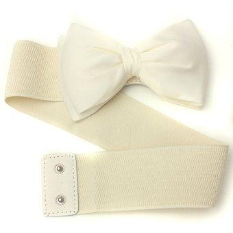 Fashion Lady Women Bowknot Elastic Bow Wide Stretch Buckle Waistband Waist Belt White - Intl