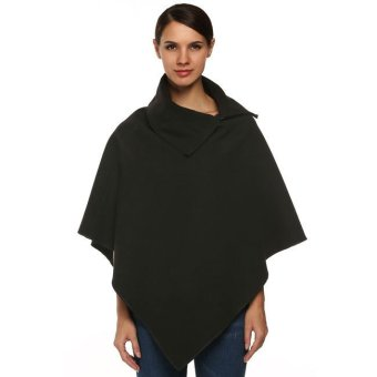 Cyber Finejo Turtleneck Solid Wool Blend Irregular Hem Cape Coat Outwear (Dark Grey) - Intl