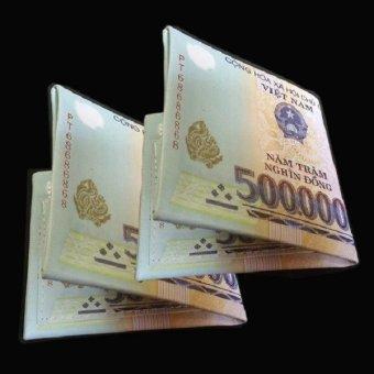 Bộ 02 Ví Da In Hình Tiền 500 VND Cao Cấp