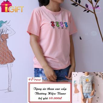 Áo Thun Nữ Tay Ngắn In Hình Bốn Con Mèo Phong Cách Tiano Fashion LV010 ( Màu Hồng Phấn ) + Tặng Áo Thun Nữ Tay Ngắn In Hình Khoai Tây