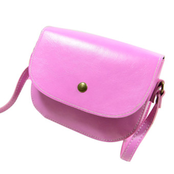 Retro Women Messenger Bags Chain Shoulder Bag Leather Crossbody (Pink)