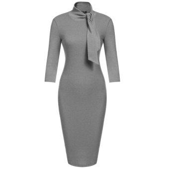 Linemart Women's Bow Turtleneck 3/4 Sleeve Solid Bodycon Evening Party Knee Pencil Dress ( Grey ) - intl