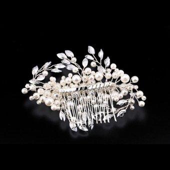 XH Flowers Rhinestone Tiara Pearl Fabric Bridal Wedding Crown Floral Hairdress - intl