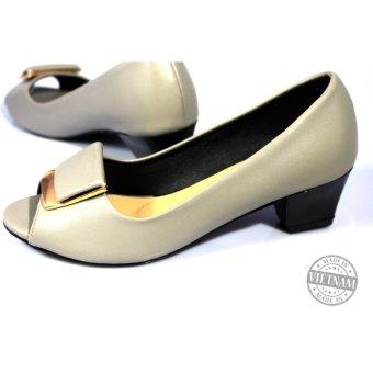 Giày cao gót đế vuông 5p cao cấp màu bạc NT FASHION 139503