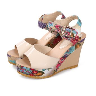Summer Women Ankle Strap Peep Toe Sandals Floral High Heel Wedge Slingback Shoes - intl