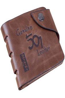 HKS Mens Retro Genuine Leather Bifold Wallet (Brown) - intl