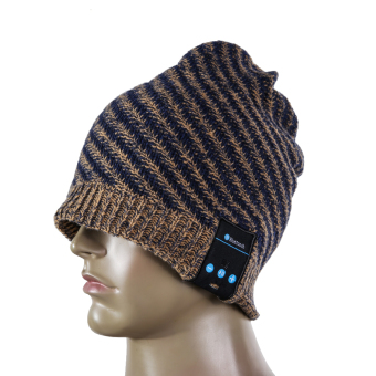 Soft Warm Wool Hat Wireless Bluetooth Smart Cap Headset (Dark Brown) (Intl)