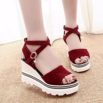 Giày Sandal Đế Xuồng Nữ Quai Chéo Hàng Nhập - LN1225 - Đỏ