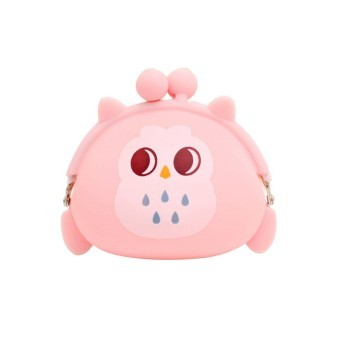 Bluelans Girl's Cartoon Owl Silicone Jelly Wallet Change Bag Pouch Coin Purse Pink (Intl)