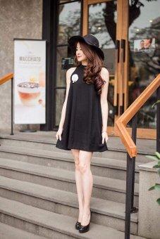 Đầm Suông Nẹp Cổ Tuyết Mưa G225 (Đen)
