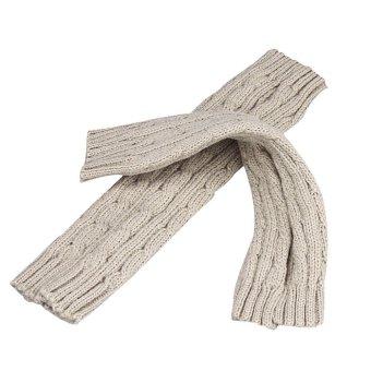 Knitted Arm Fingerless Winter Gloves Unisex Soft Warm Mitten Beige - Intl