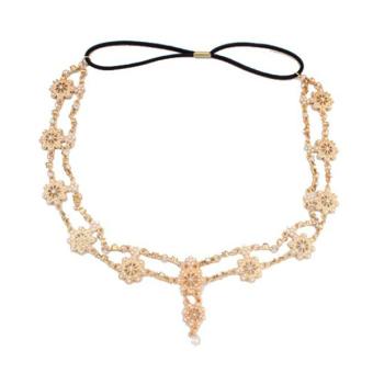 Womens Elegant Gold Crystal Faux Pearl Beaded Headband Hair Accessory - Intl