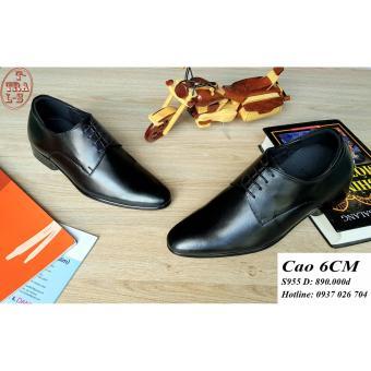 Giày tăng chiều cao nam S 955 đen, cao 6CM