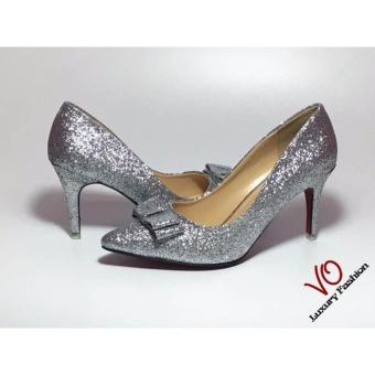 Giày lọ lem VO | 8 phân, màu bạc kim tuyến | VO.030717.4