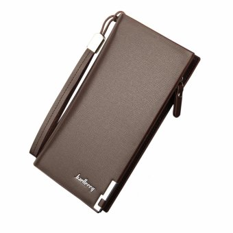 Baellerry Men PU Leather Long Business Wallets Solid Wallet Casual(Brown) - intl