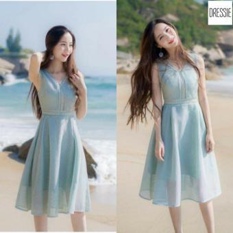ĐẦM XÒE SANG TRỌNG DỰ TIỆC DRESSIE - KU0133 (Xanh)