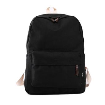 Women Canvas School Bag Girl Backpack Travel Rucksack Shoulder Bag Black - Intl