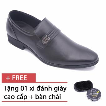 Giày da nam công sở lịch lãm Smartmen GL-0027 (Đen), tặng kèm 1 bàn chải và xi cao cấp.