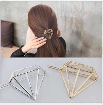 Kẹp tóc nữ cao cấp thời trang Hàn Quốc KAH49 hình kim cương mầu vàng