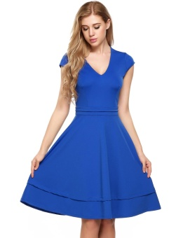 Cyber Women Casual Cap Sleeve Solid V Neck Knee-Length Stretchy Tunic Dress ( Blue ) - intl