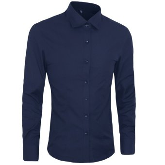 Autumn Fashion Men Clothes Slim Fit Men Long Sleeve Shirt Men Cotton Casual Men Shirt Social (Deep blue) - intl