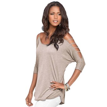 Cyber Fashion Women Ladies Off Shoulder Hollow Out 3/4 Sleeve Solid Pure Color Blouse Tops (Apricot)