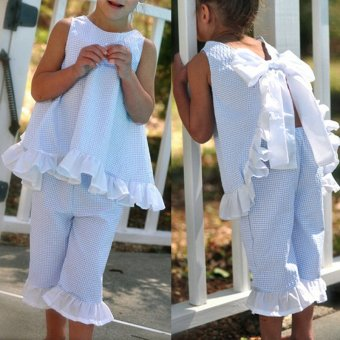 BEINGQ New 2Pcs Sets Baby Kids Girl Summer Outfit Bow Vest Shirt Tops+Pants Suits 3-8Y - intl
