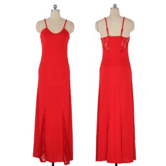 Zaful Woman Slim Dress V-Neck Lace-Stitching Hollow Design (Red) - Intl