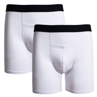 Cyber Avidlove Men 2PCS Stretch Cotton Blend Pure Color Slim Long Underwear Boxers (White) - Intl