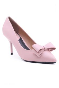 Giày cao gót nhọn nơ 2 tầng Sarisiu XT728 (Hồng)