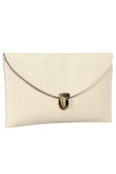 Sunweb Women Golden Chain Envelope Purse Clutch Synthetic Leather Handbag Shoulder Bag?Dinner Party ( White ) - Intl