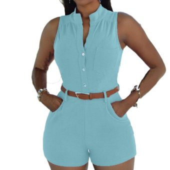 Plus Size Rompers Womens Jumpsuits Sexy Deep V Neck Sleeveless Playsuits Casual High Waist Solid Overalls with Belt - intl