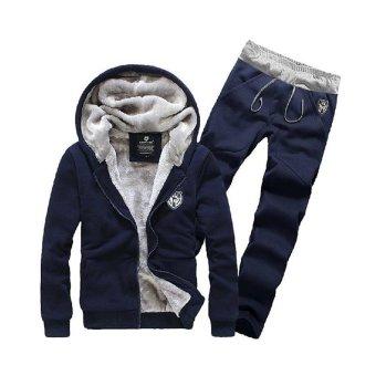Men's Fleece Thickening Jacket Leisure Sports Suit Male Hooded Jacket - intl