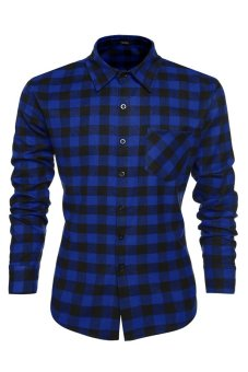 Cyber Men's Casual Leisure Grid Long Sleeve Lapel Shirt (Dark Blue) - Intl