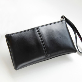 Women Leather Long Bifold Purse Zipper Clutch Handbag Wallet Card Bag Black