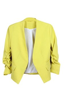 Bluelans Women's Fashion Korea Solid Slim Suit Blazer Coat Jacket Yellow (Intl)