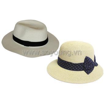 Bộ 2 Mũ Cói Đi Biển Nam Nữ SoYoung SYCB HAT 043 CR PS WM LR BRIM CAP 005 CR ND