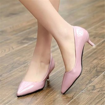 Women Pointed Toe Pump Middle Heel Shoes (Pink) - intl
