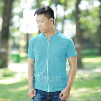 Áo thun nam cổ tròn dây kéo dài - Tay ngắn (Xanh thiên thanh)