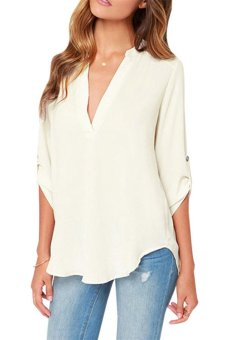 Moonar Fashion Women's V neck 3/4 Sleeve Chiffon White Shirt Tops (White) - Intl